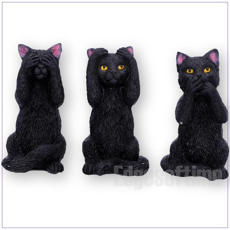 Trois Sage Chats Félins figurine de ne pas Voir Speak No Hear No Evil Black Cat Ornement
